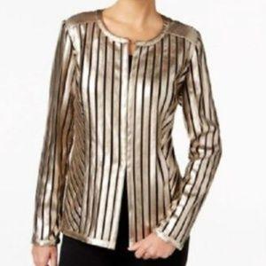 JM Collection Gold Metallic Faux-Leather Jacket PM